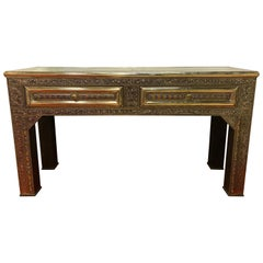White Silver Brass Console, Desk or Table, Palatial Filigree Style