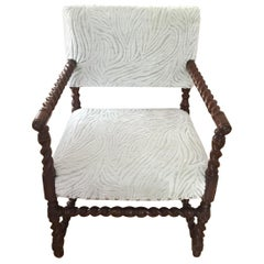 White and Silver Velvet English Barley-Twist Chair