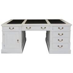 White Solid Wood Partnerdesk with a Black Leather Top