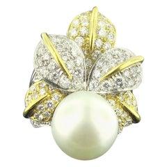 White South Sea Pearl 18 Karat Yellow and White Gold 4.00 Carat Diamonds