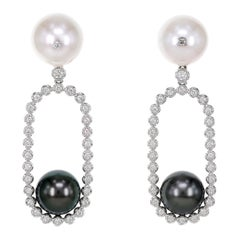White South Sea Pearl and Black Tahitian Pearl Party Earring