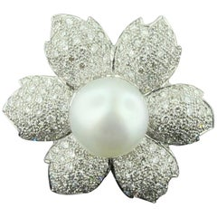 White South Sea Pearl and Diamond Flower Ring in 18 Karat White Gold