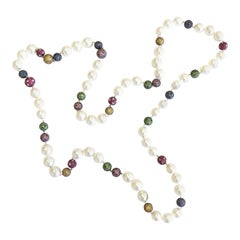 White South Sea Pearl and Multi-Color Stone Necklace in 18 Karat Yellow Gold