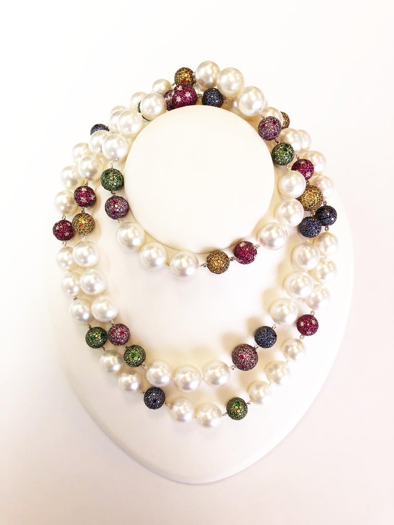 White South Sea Pearl and Multi-Color Stone Necklace in 18 Karat Yellow Gold In New Condition For Sale In Los Angeles, CA