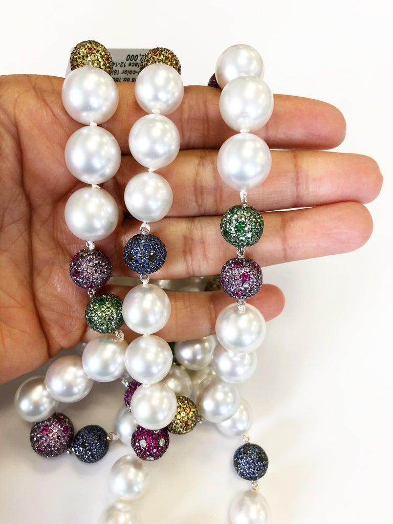 Women's or Men's White South Sea Pearl and Multi-Color Stone Necklace in 18 Karat Yellow Gold For Sale