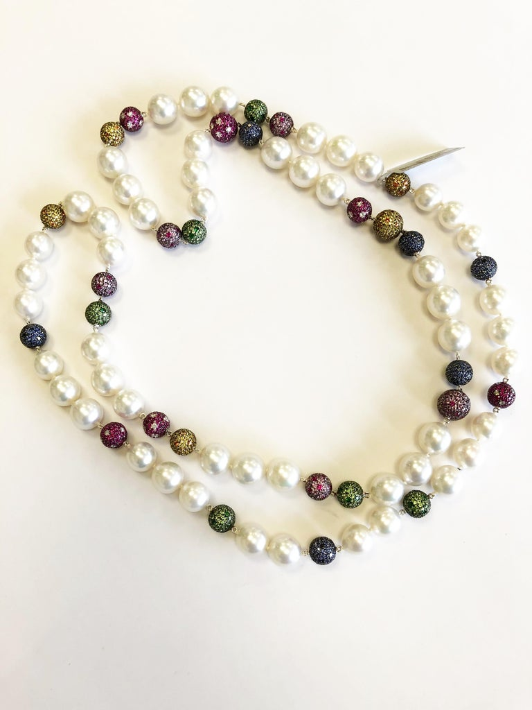 White South Sea Pearl and Multi-Color Stone Necklace in 18 Karat Yellow Gold For Sale 1