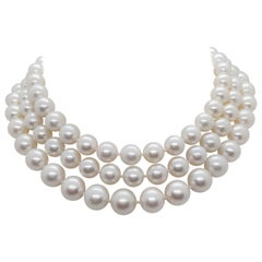 White South Sea Pearl and Pave Diamond Necklace in 18 Karat White Gold