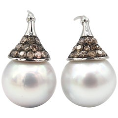 White South Sea Pearl Champagne Diamond White Gold Pierced Earrings