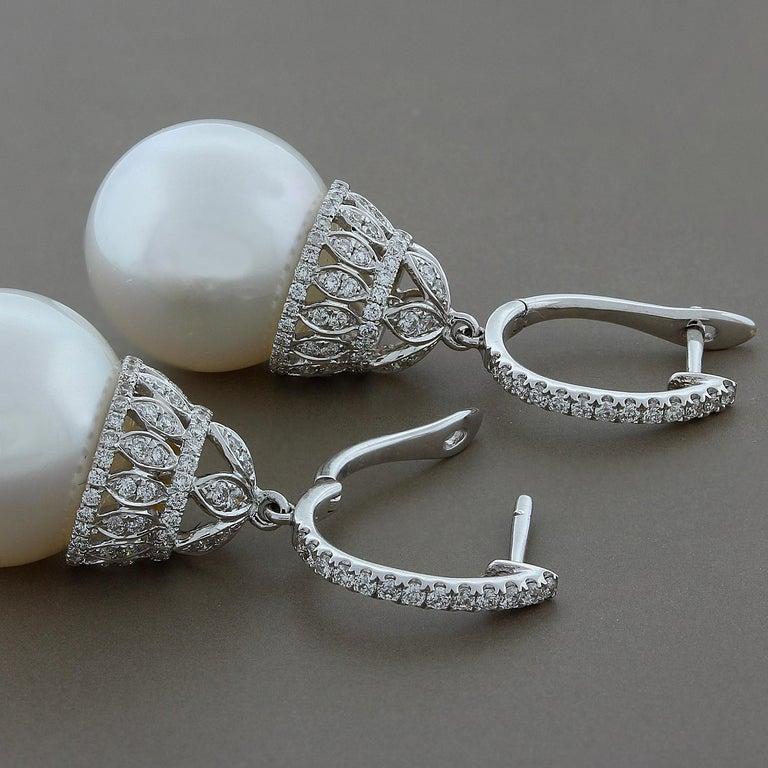 Women's White South Sea Pearl Diamond Gold Drop Earrings For Sale