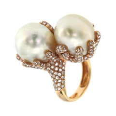 White South Sea Pearl Diamond R 18k Rose Gold Cocktail Baroque Ring