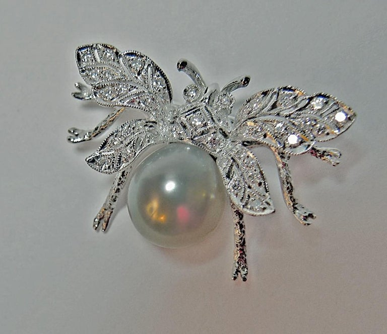 Contemporary White South Sea Pearl Diamond White Gold Bumble Bee Brooch Pin 18 Karat For Sale