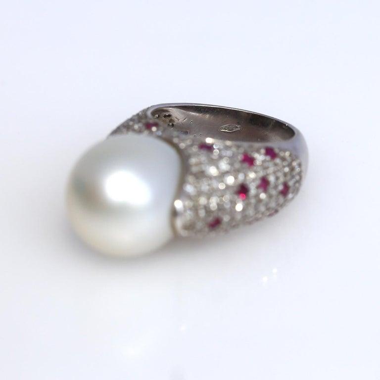 Women's White South Sea Pearl Diamonds Rubies Ring 18k White Gold, 1980 For Sale