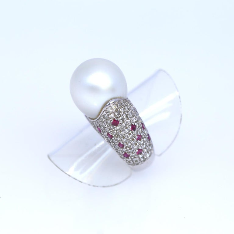 White South Sea Pearl Diamonds Rubies Ring 18k White Gold, 1980 For Sale 1