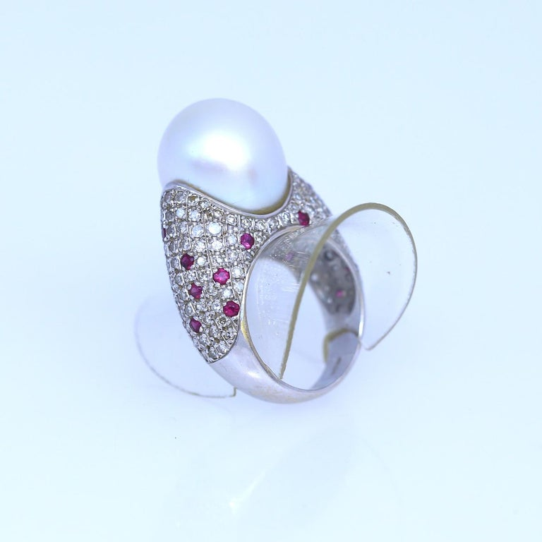 White South Sea Pearl Diamonds Rubies Ring 18k White Gold, 1980 For Sale 2
