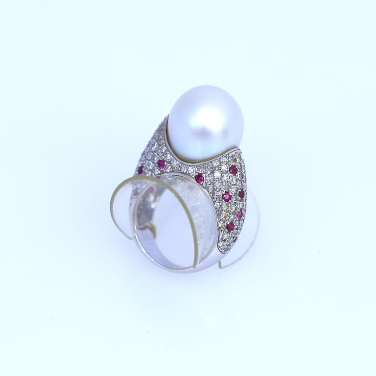 White South Sea Pearl Diamonds Rubies Ring 18k White Gold, 1980 For Sale 3