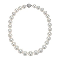 White South Sea Pearl Necklace with 18 Karat White Gold Diamond Pave Clasp