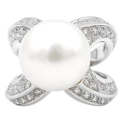 White South Sea Pearl Raised Cross Band Diamond Pavé 18 Karat White Gold Ring