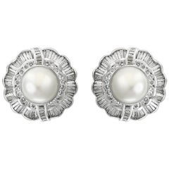 White South Sea Pearl with 12 Carat Diamond Cocktail Earrings 18 Karat Gold
