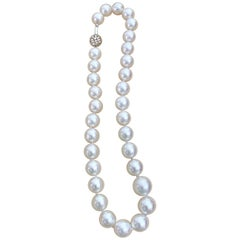 White South Sea Pearls Long Strand Necklace 14 Karat Gold Clasp