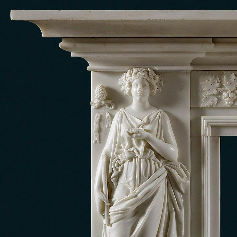 British White Statuary Marble Regency Fireplace Mantel For Sale
