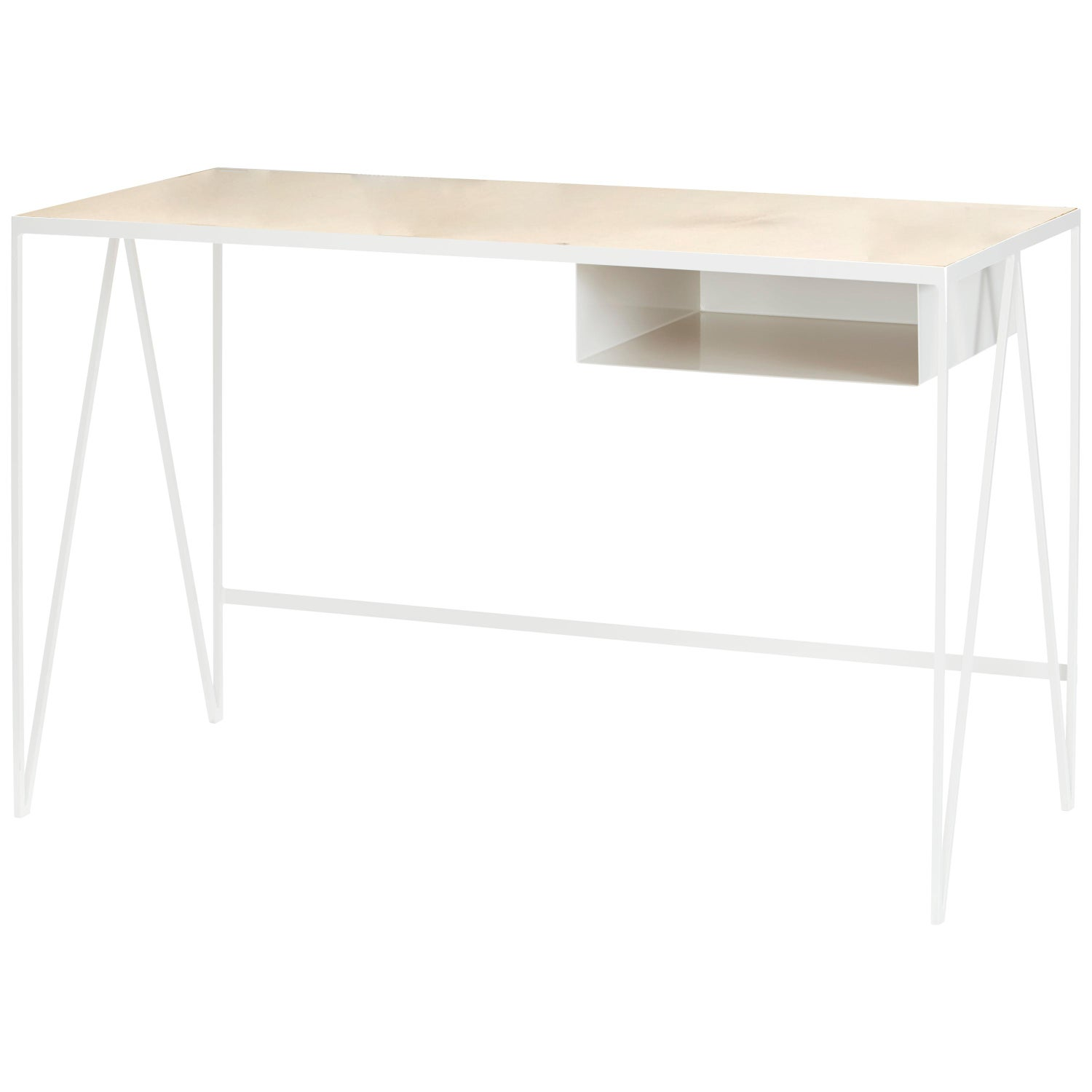 White Steel Study Desk with Birch Wood Table Top or Writing Table