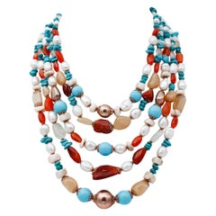 White Stones Turquoise Pearls Carnelians Moon-Stone Silver Multi-Strand Necklace