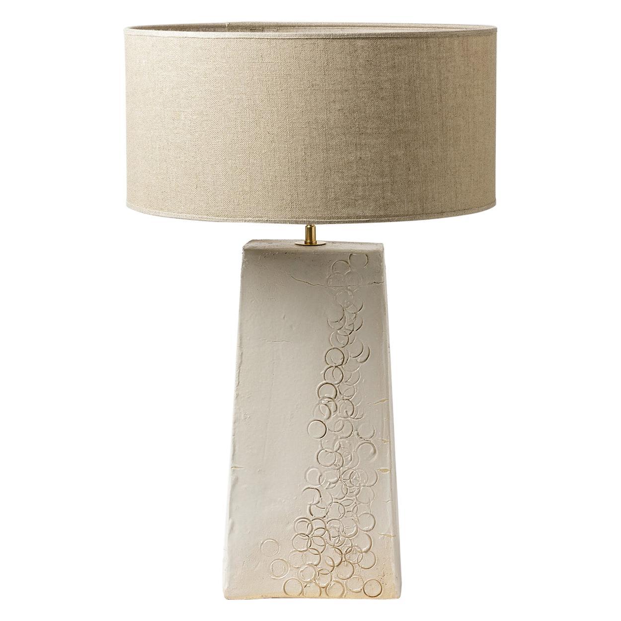 White Stoneware Ceramic Table Lamp 20th Century Design Lighting handmade