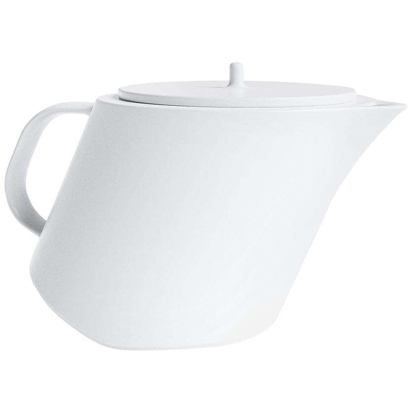 Swiss White Stoneware Limen Teapot