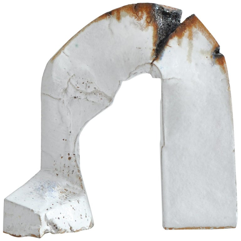 Impressive large abstract sculpture by Danish artist Ole Bjørn Krüger made in the 1960s in his own workshop. Made from white glazed stoneware with contrasts in earth colors.  This piece was acquired from the artists own collection.