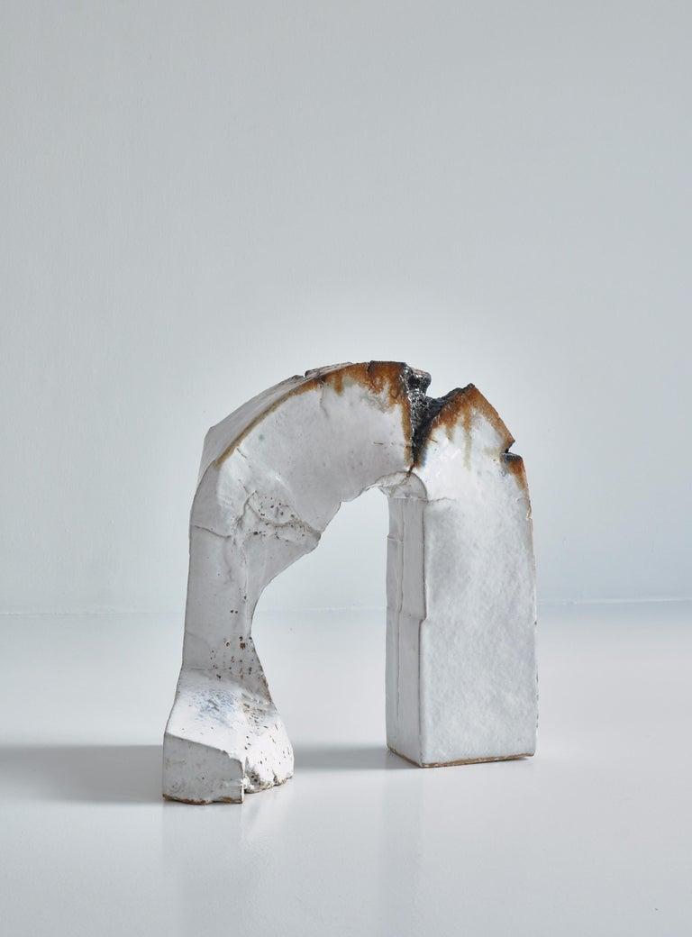 Scandinavian Modern White Stoneware Sculpture by Ole Bjørn Krüger from Own Studio, Denmark, 1960s For Sale