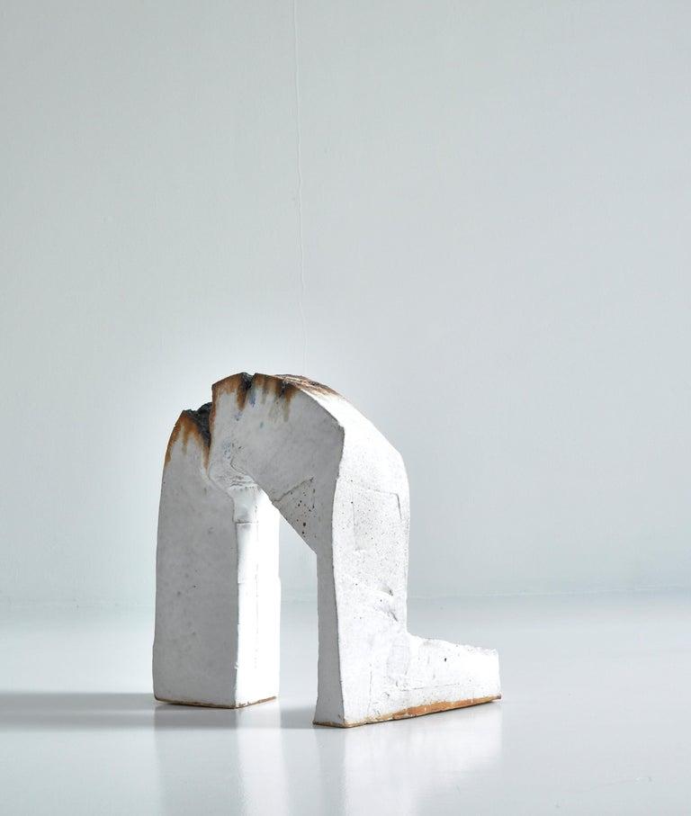 Danish White Stoneware Sculpture by Ole Bjørn Krüger from Own Studio, Denmark, 1960s For Sale
