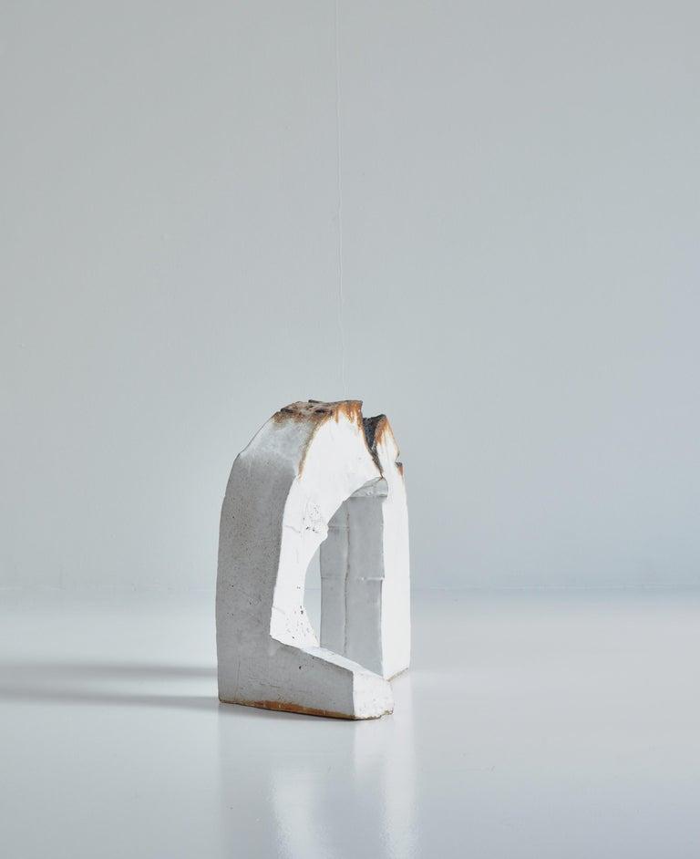 Mid-20th Century White Stoneware Sculpture by Ole Bjørn Krüger from Own Studio, Denmark, 1960s For Sale