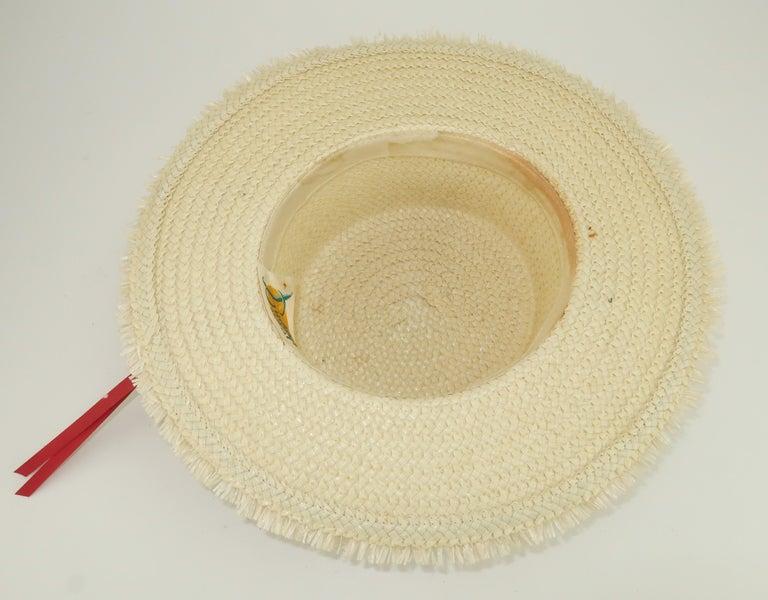 White Straw Raffia Trim Novelty Hat With Strawberries, 1950's For Sale 7