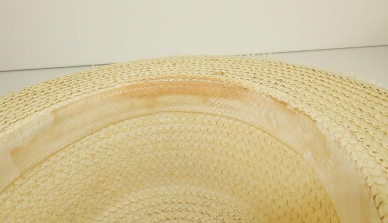White Straw Raffia Trim Novelty Hat With Strawberries, 1950's For Sale 8
