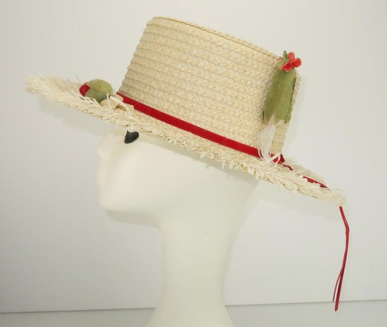Women's White Straw Raffia Trim Novelty Hat With Strawberries, 1950's For Sale