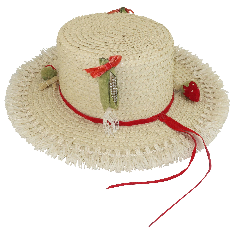 White Straw Raffia Trim Novelty Hat With Strawberries, 1950's