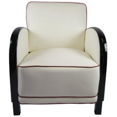 White Swedish Art Deco Armchair Italian Leather Ormolu Style Arms