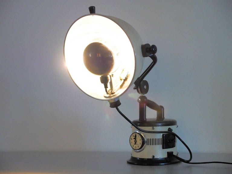 White Table Lamp Made from 1940s Sunlamp For Sale 3