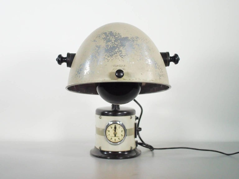 Mid-Century Modern White Table Lamp Made from 1940s Sunlamp For Sale