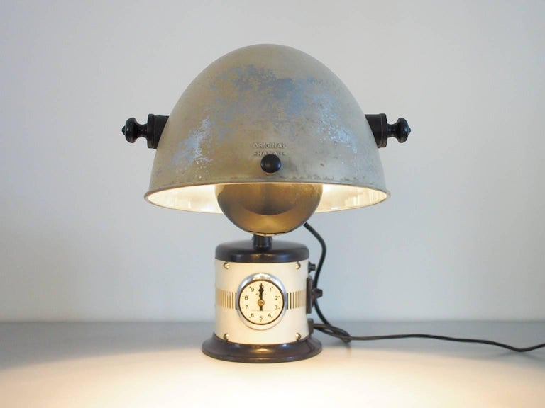 German White Table Lamp Made from 1940s Sunlamp For Sale