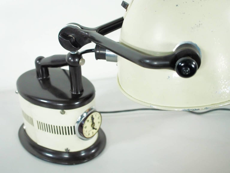20th Century White Table Lamp Made from 1940s Sunlamp For Sale