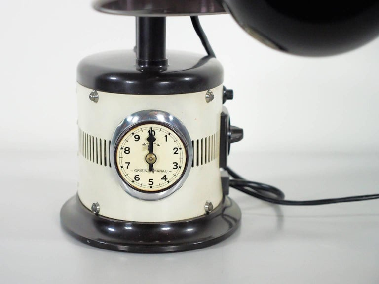 Metal White Table Lamp Made from 1940s Sunlamp For Sale