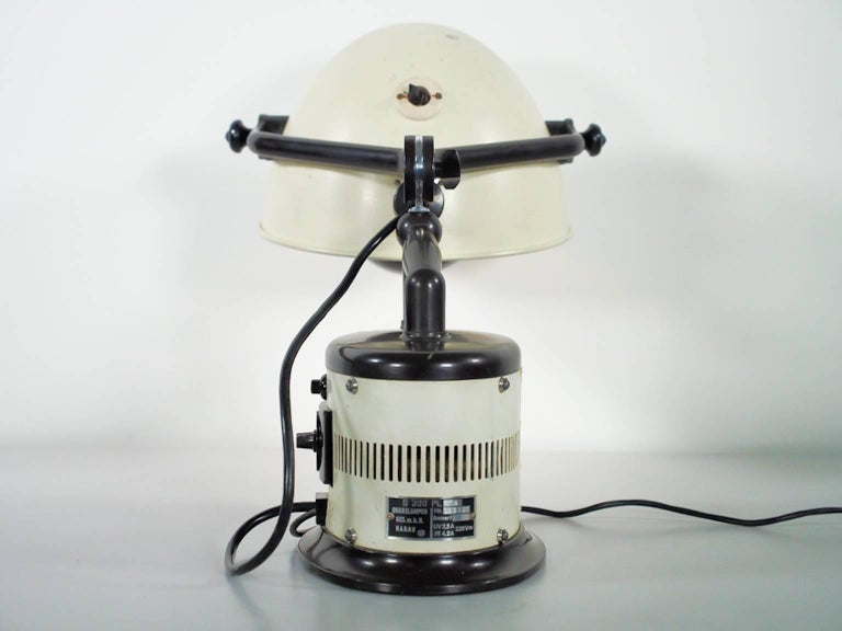 White Table Lamp Made from 1940s Sunlamp For Sale 2