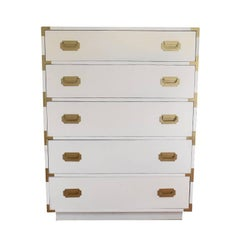 White Tall Dixie Campaign Dresser with Five Drawers and Brass Hardware