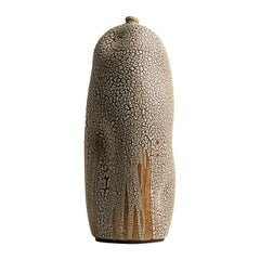 White Tall Textured Handmade Ceramic Vase / Wabi Sabi Interior Sculpture