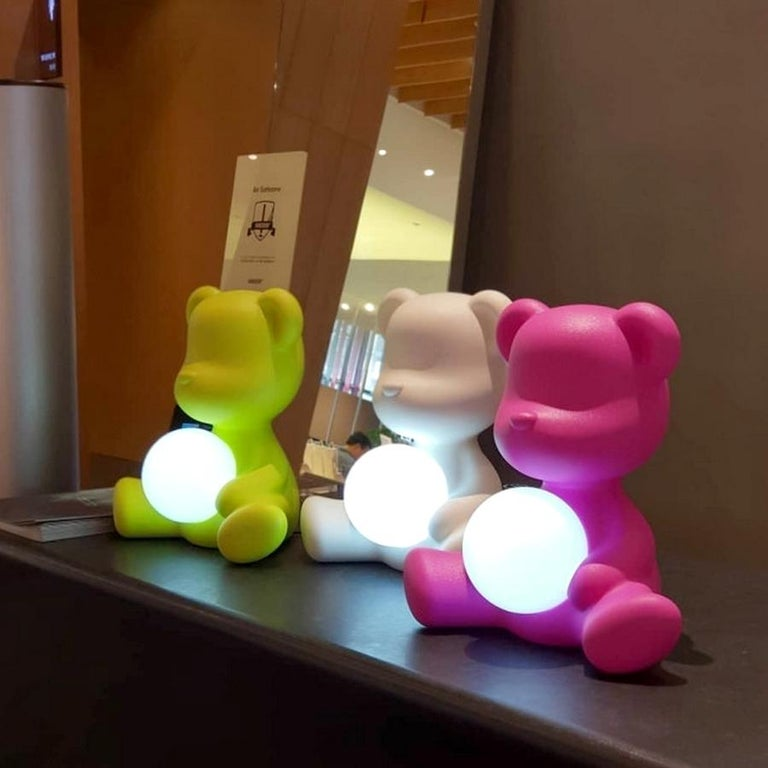 Italian White Teddy Bear Lamp LED, Made in Italy For Sale
