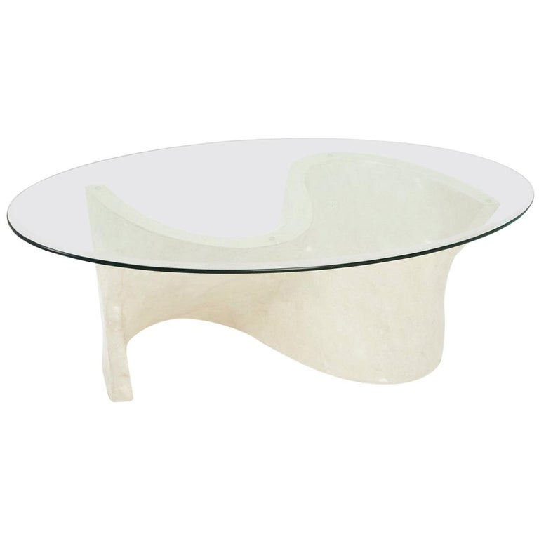 Stone And Glass Coffee Tables: White Tessellated Stone Coffee Table With Glass Top And