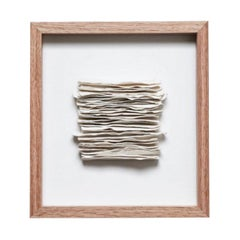 White Textured Porcelain Strips in Frame, France, Contemporary