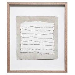 White Textured Porcelain Strips on Linen, Framed, France, Contemporary