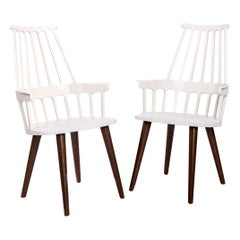 White Thermoplastic Shell Seat with Oak Stained Leg Dining Chair, Kartell